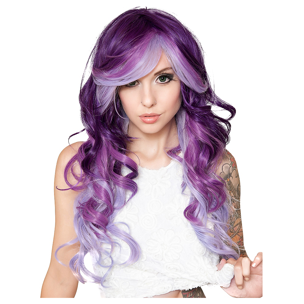 Curly Purple Possession Ombre Cosplay Wig Image #1