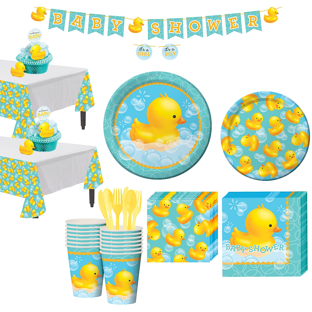 Rubber Ducky Baby Shower Tableware Kit for 16 Guests Image #1
