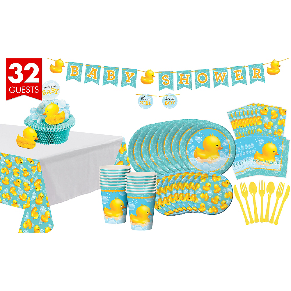 Rubber Ducky Baby Shower Tableware Kit 32 Guests Baby Shower