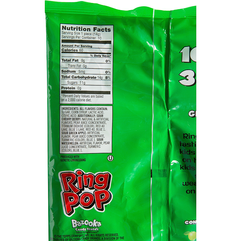 Nav Item for Topps Sour Ring Pops Candy 10ct Image #2