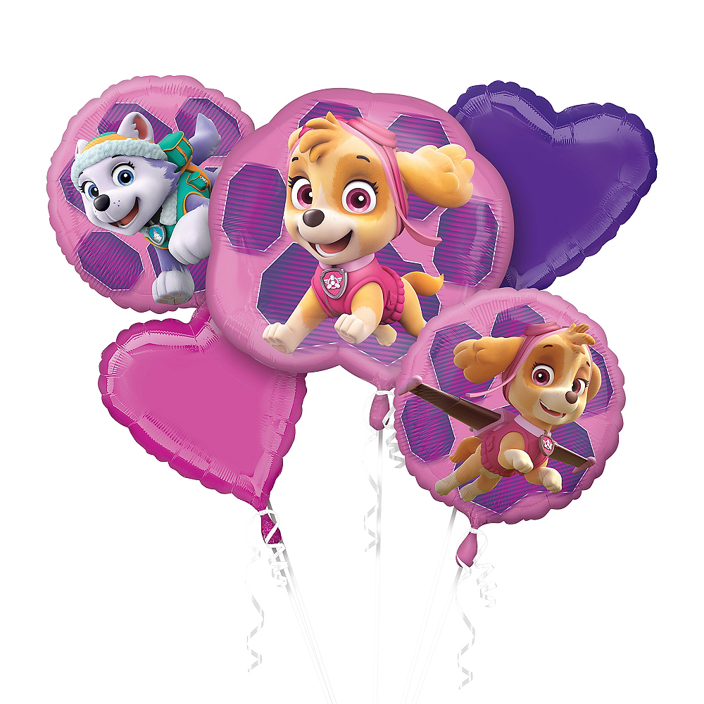 Pink PAW Patrol Balloon Bouquet 5pc Image #1