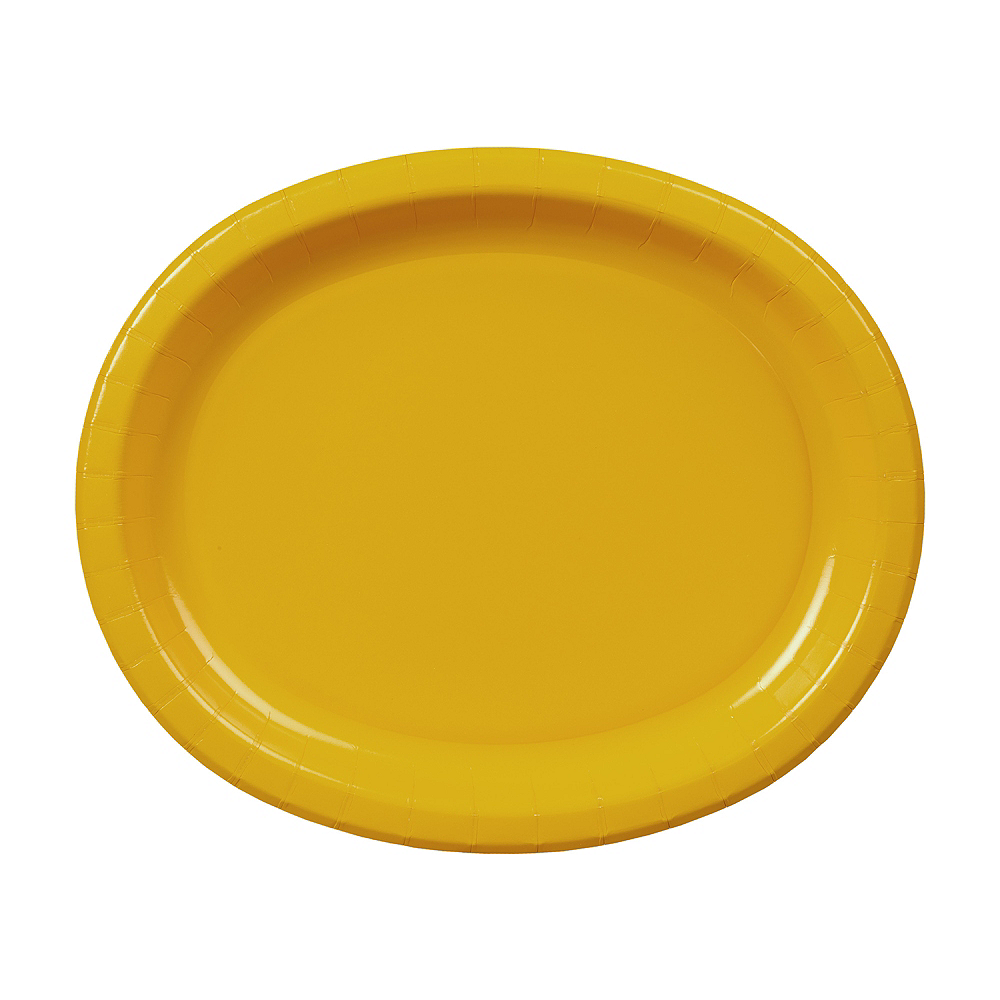 Sunshine Yellow Paper Oval Plates 20ct Image #1