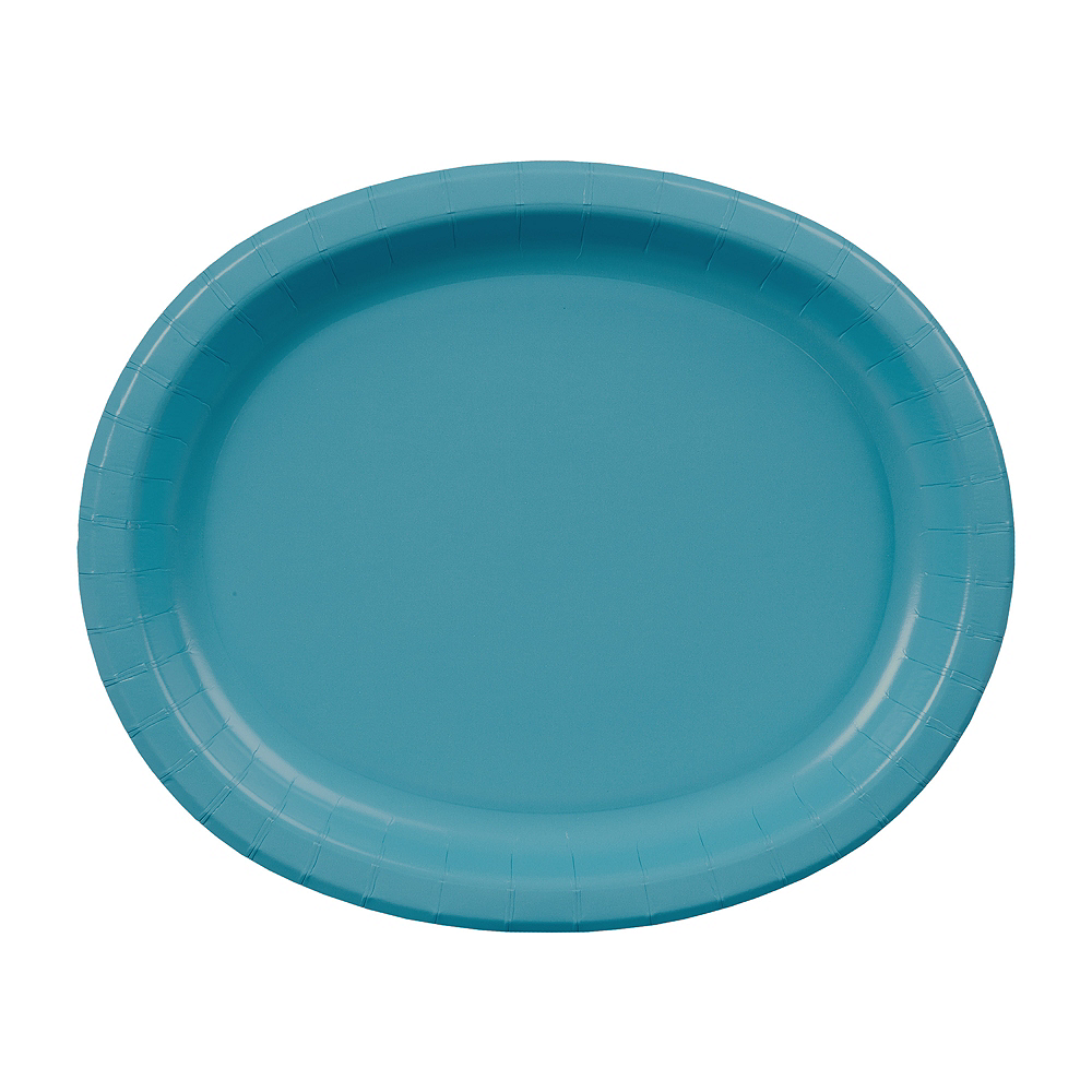 Caribbean Blue Paper Oval Plates 20ct Image #1