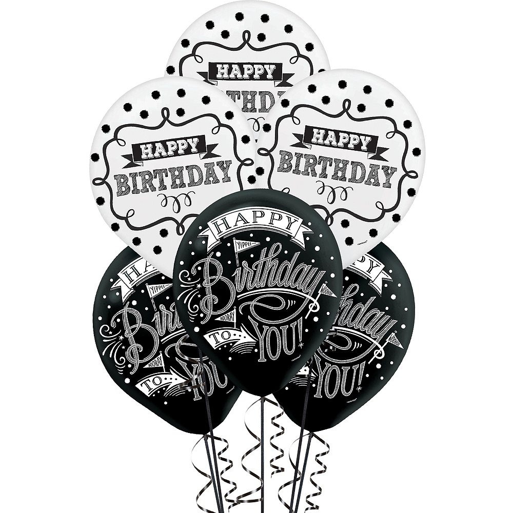 Chalkboard Dots Birthday Balloons 15ct Image 1