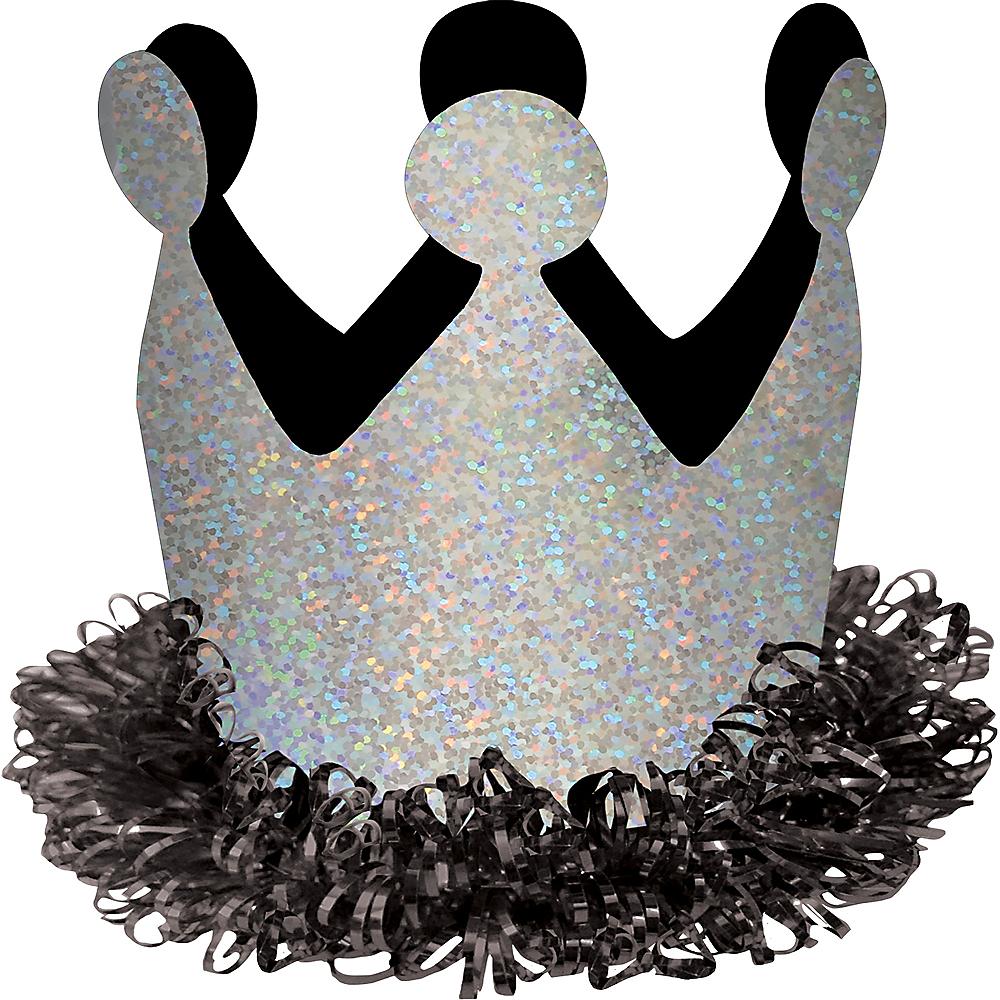Black & Silver Mini Birthday Crown Hair Clip Image #2