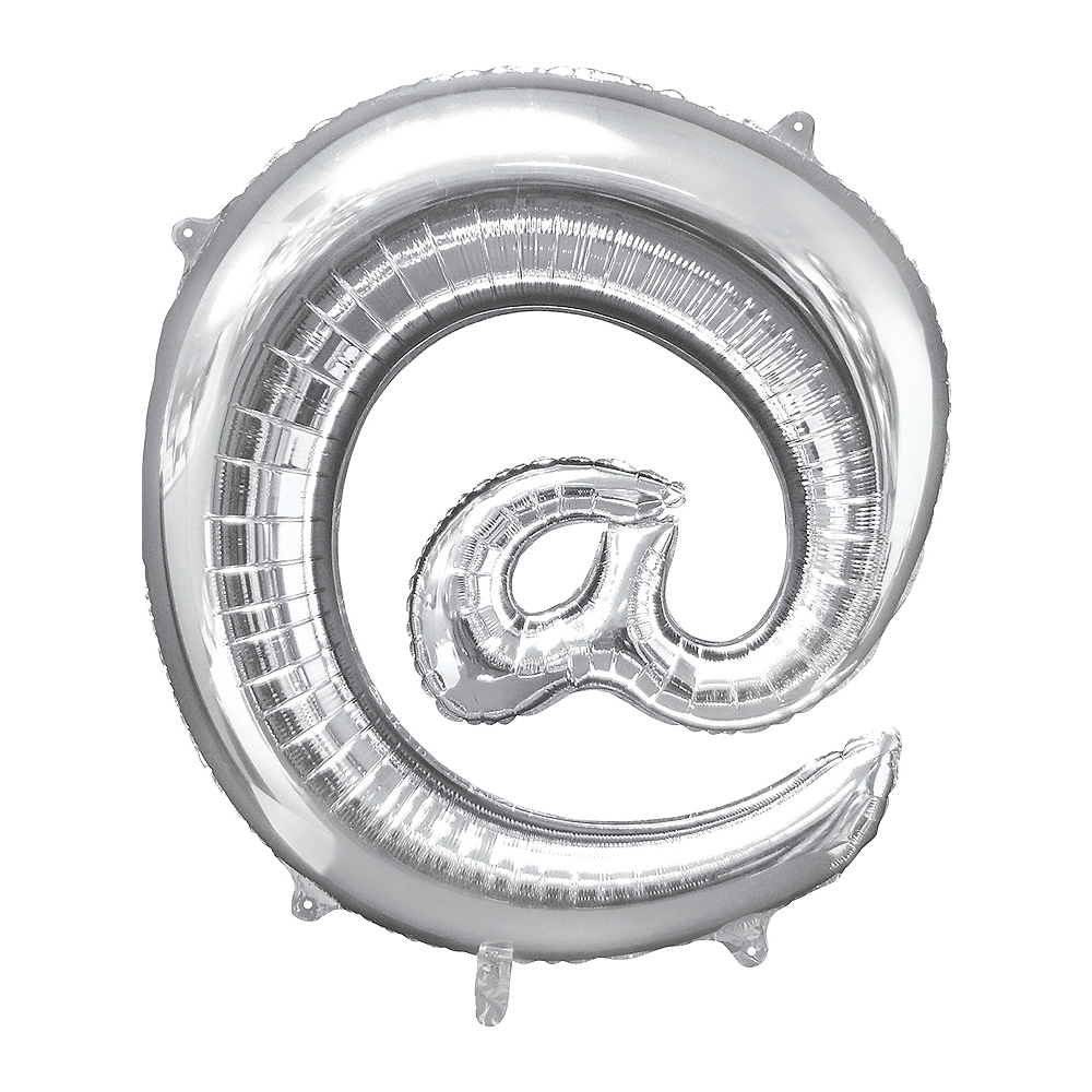 Giant Silver At Symbol Balloon 30in x 32in Image #1