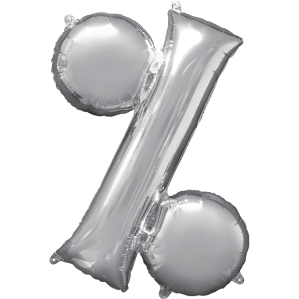 Giant Silver Percent Symbol Balloon 36in x 36in Image #1