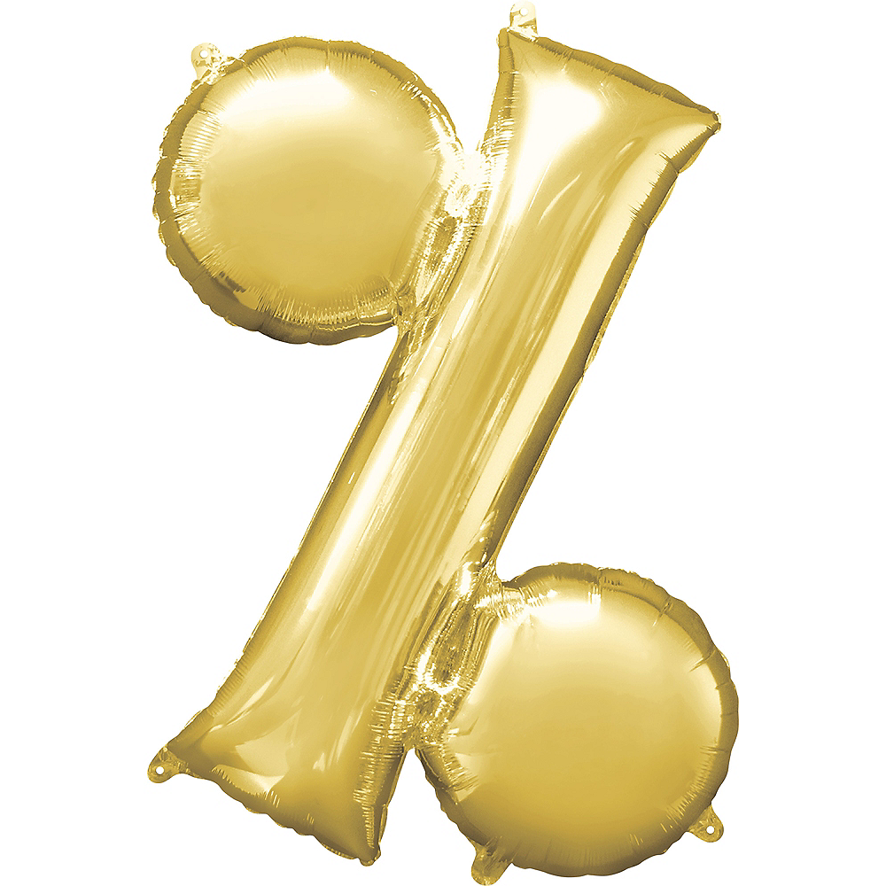 Giant Gold Percent Symbol Balloon 36in x 36in Image #1