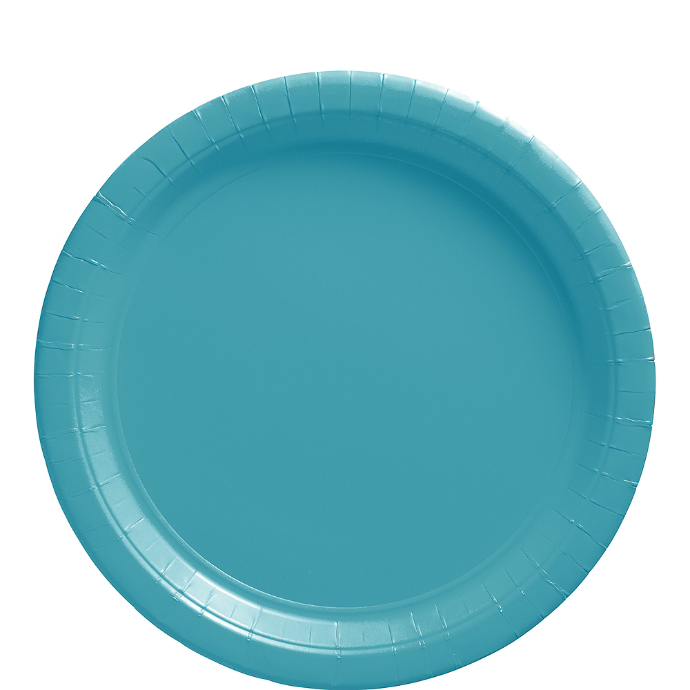 Caribbean Blue Paper Lunch Plates 20ct Image #1