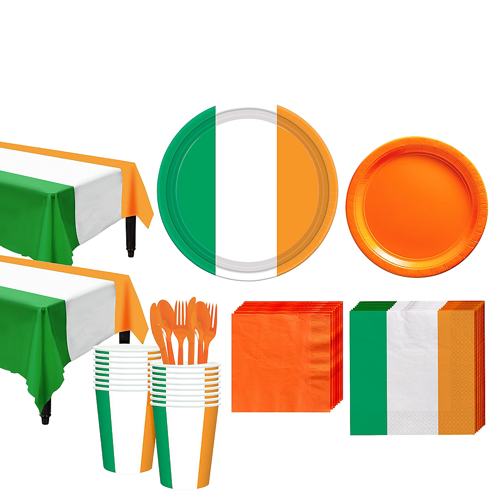 Green, White & Orange Tableware Kit for 16 Guests Image #1