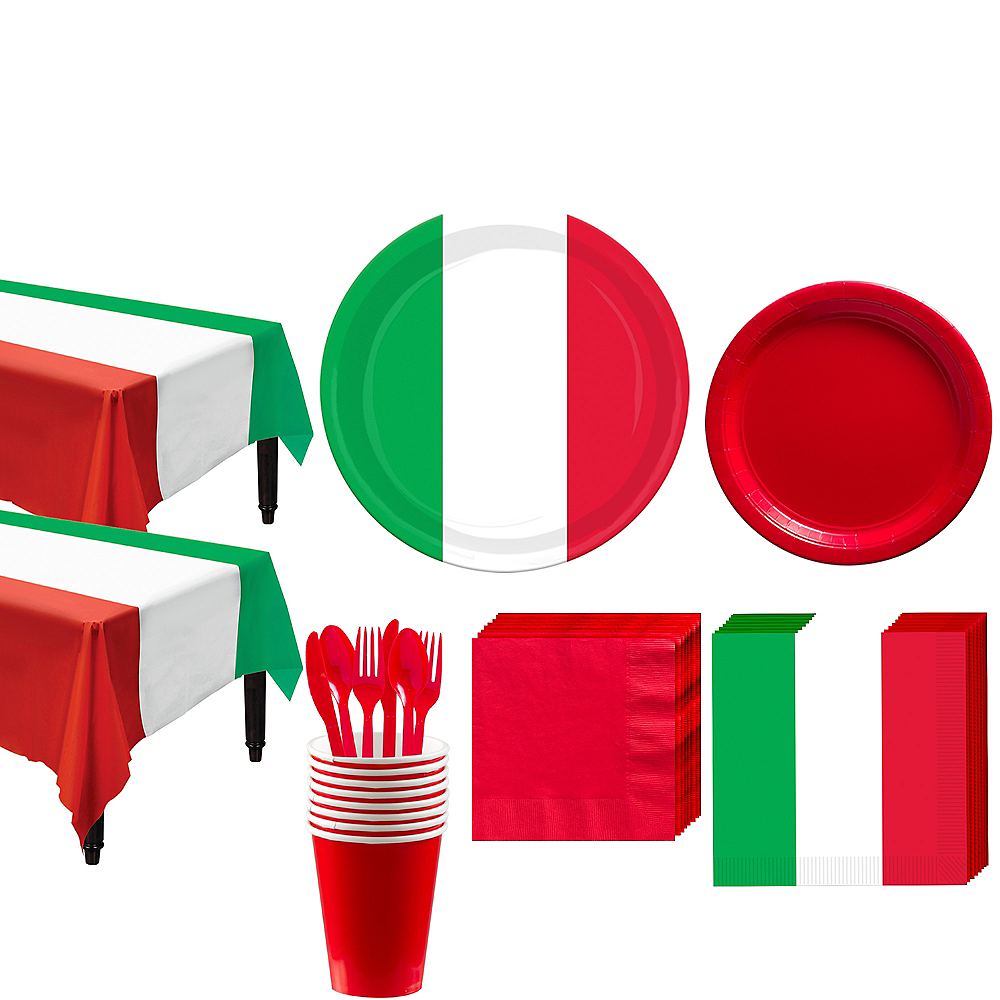 Red, White & Green Tableware Kit for 16 Guests Image #1