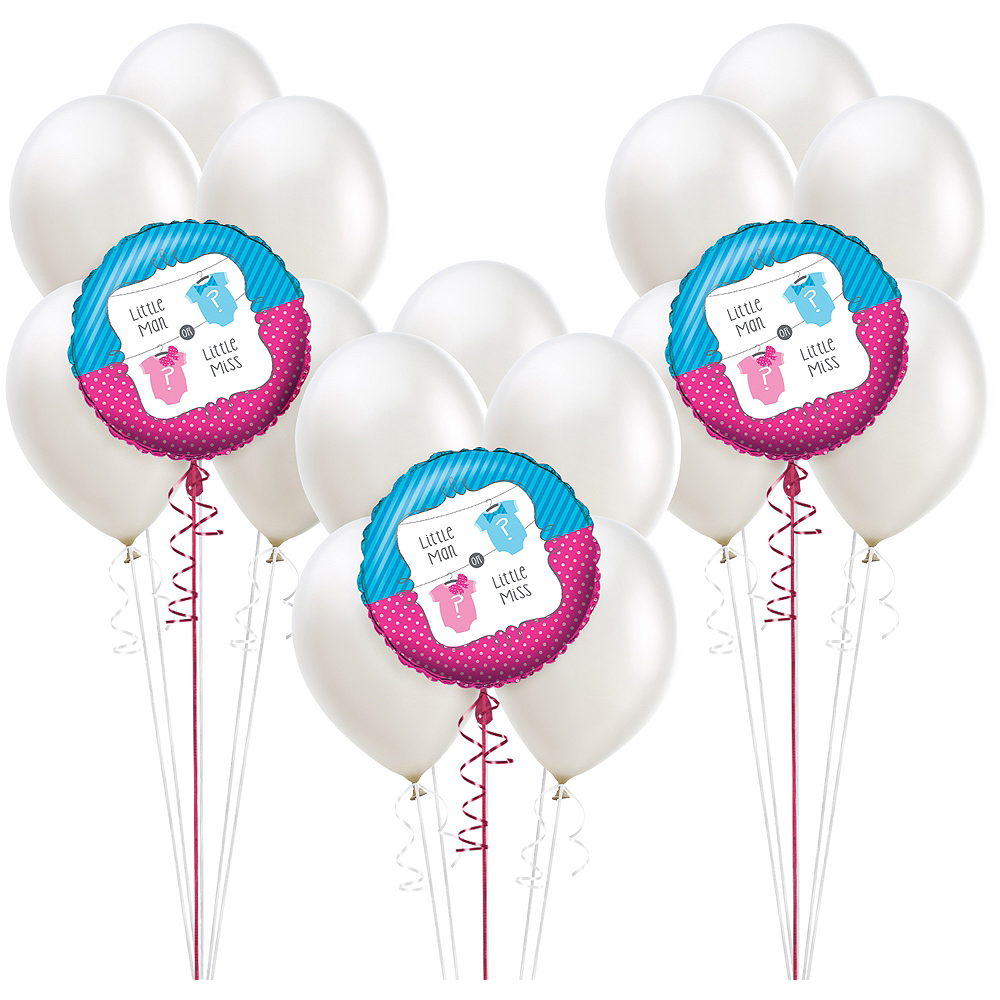 Little Man Little Miss Gender Reveal Party Balloon Kit 18ct Image #1