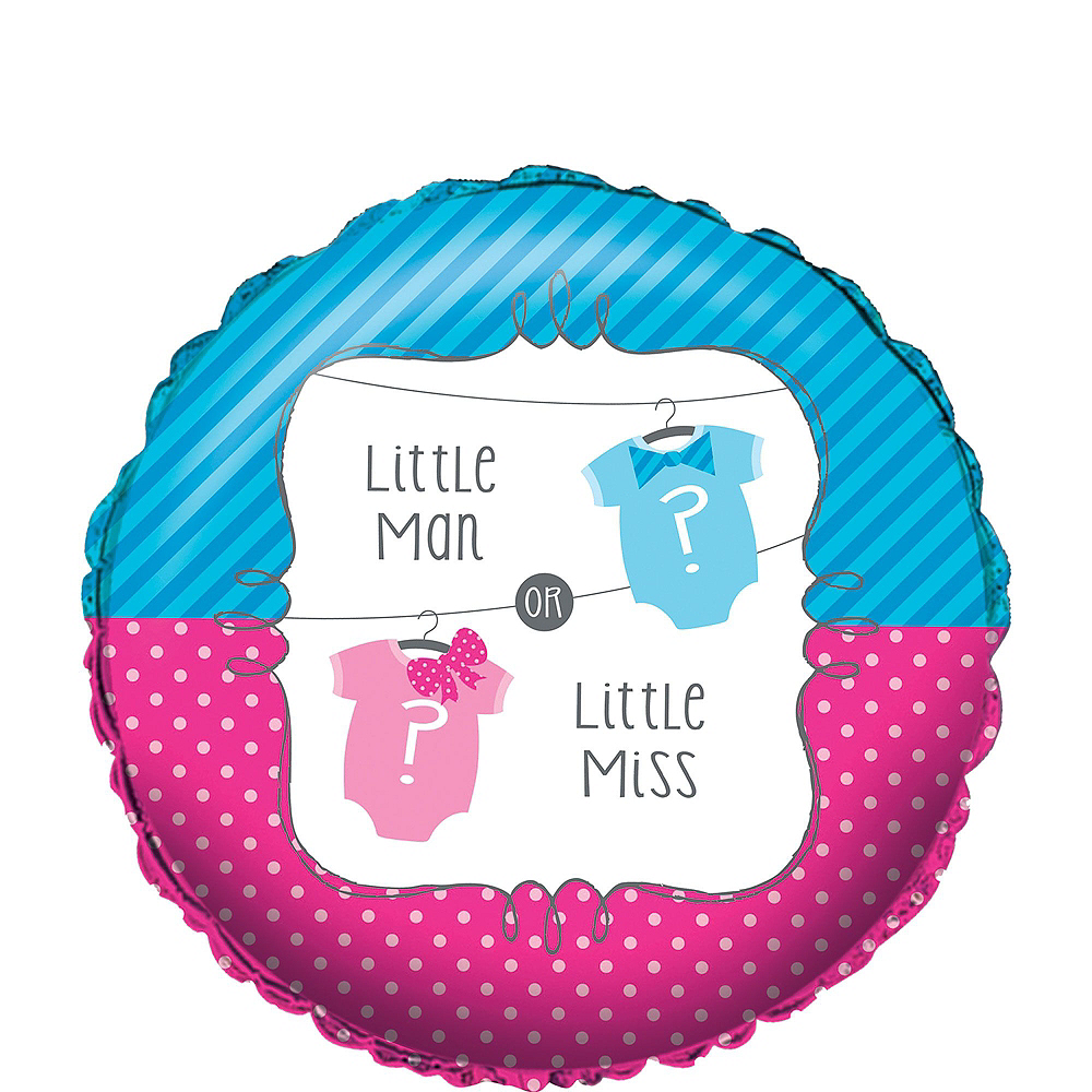 Nav Item for Little Man Little Miss Gender Reveal Party Balloon Kit 18ct Image #2