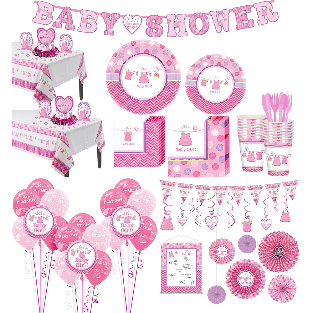 It\'s a Girl Premium Baby Shower Kit for 32 Guests | Party City