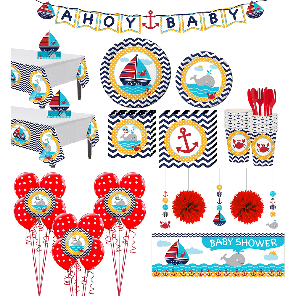 Ahoy Nautical Premium Baby Shower Kit for 32 Guests Image #1