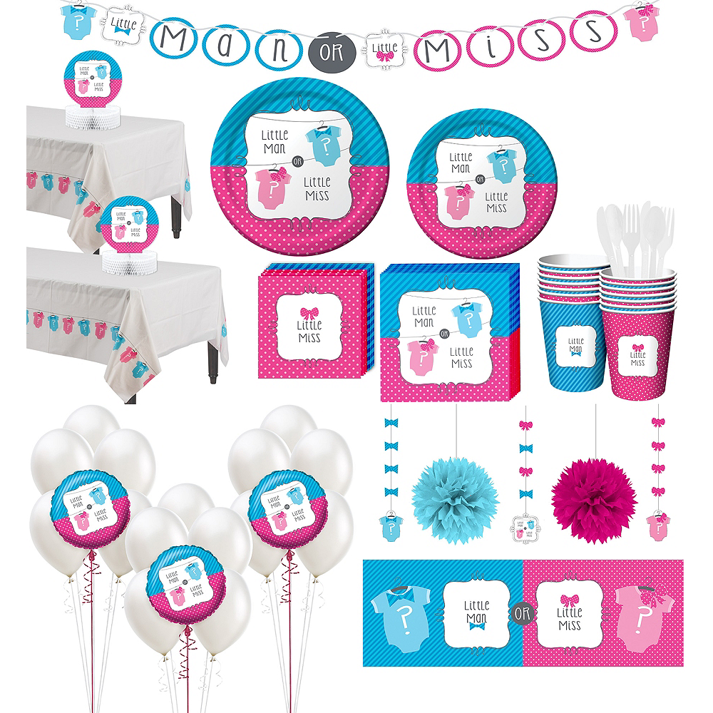 Little Man, Little Miss Premium Gender Reveal Party Kit for 32 Guests Image #1