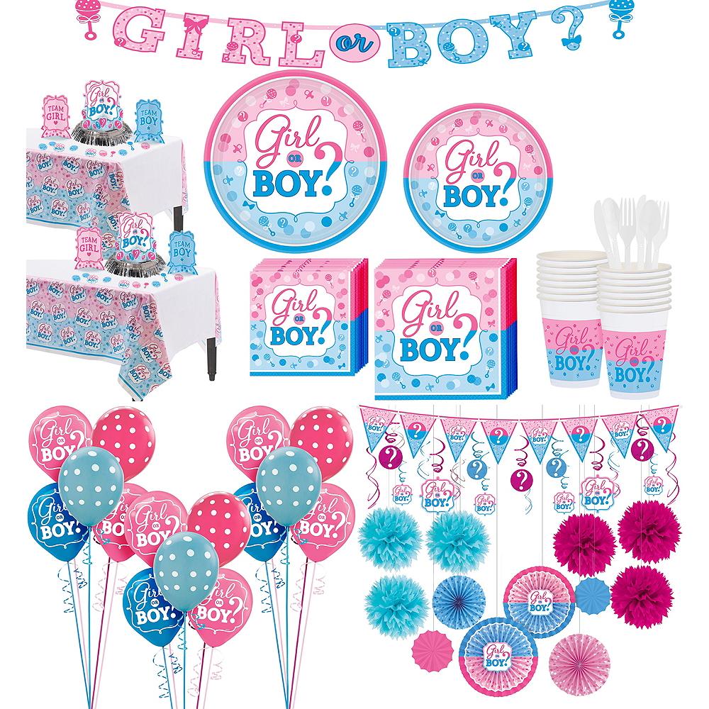 Girl or Boy Premium Gender Reveal Party Kit for 32 Guests Image #1