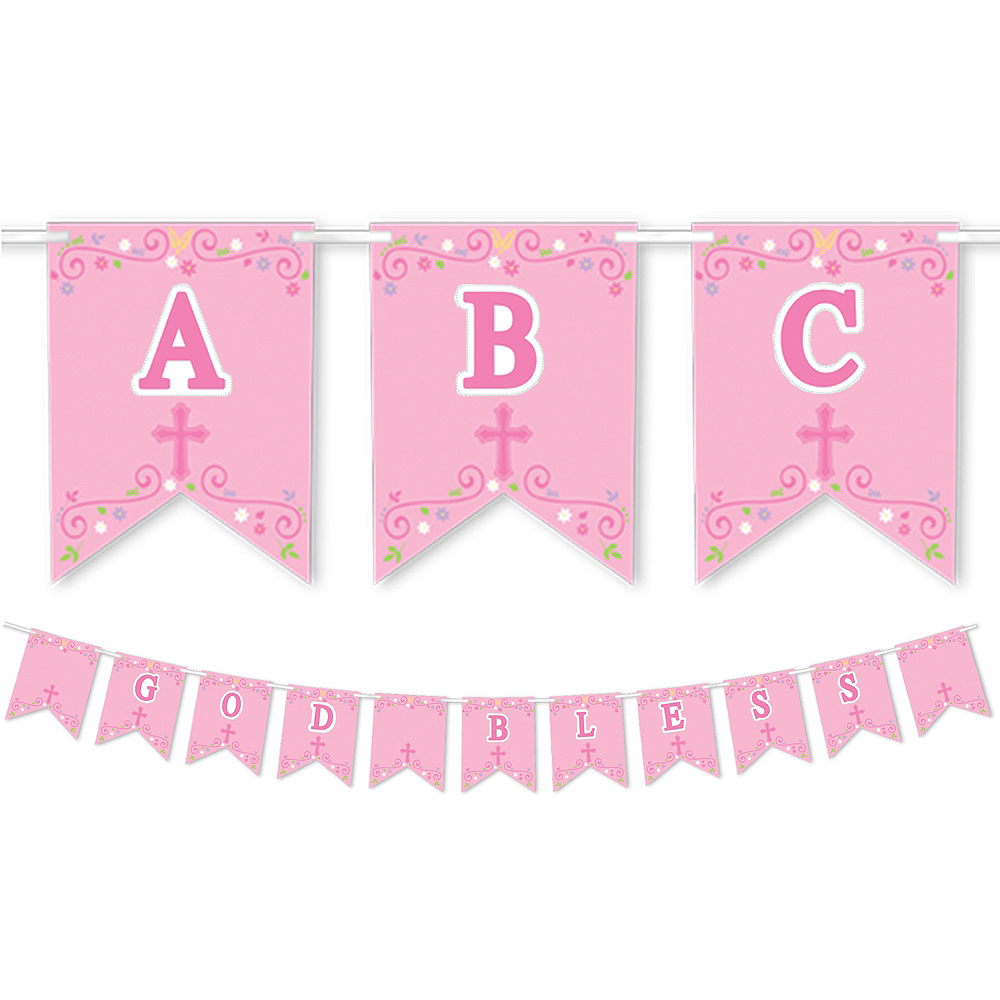 Pink First Communion Personalized Pennant Banner Kit Image #1