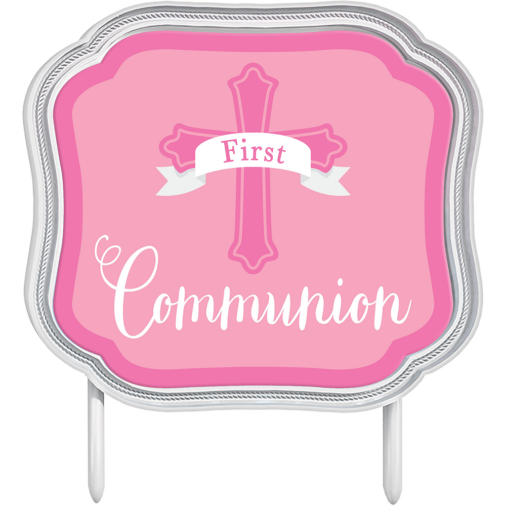 Pink First Communion Cake Topper Image #1