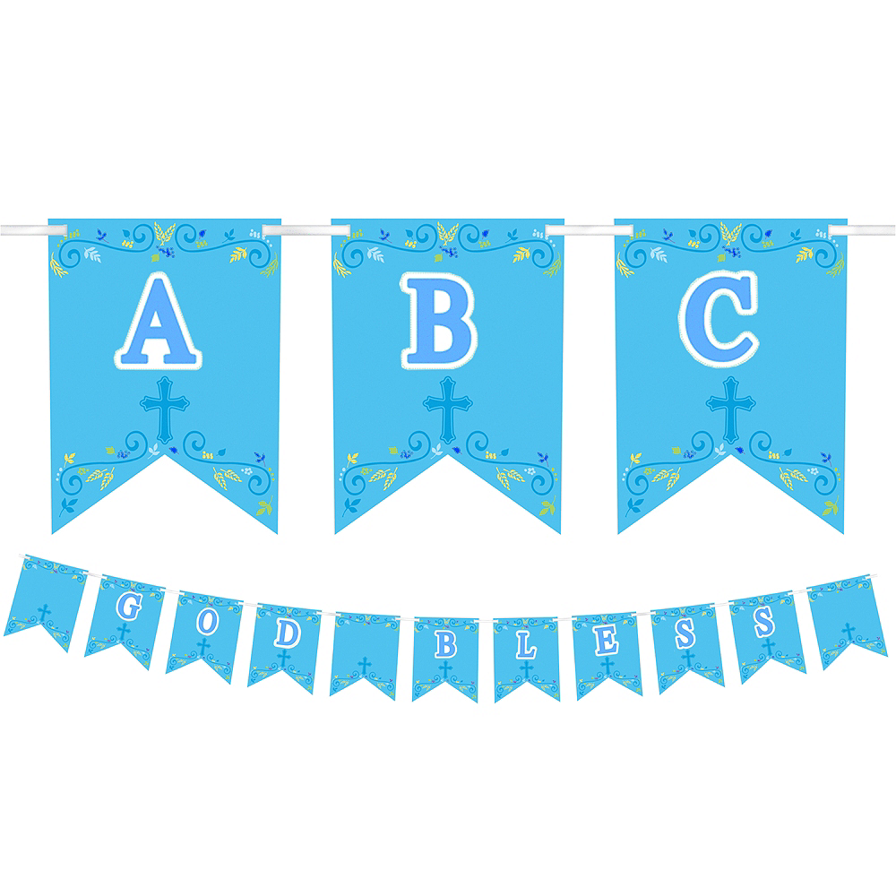 Blue First Communion Personalized Pennant Banner Kit Image #1