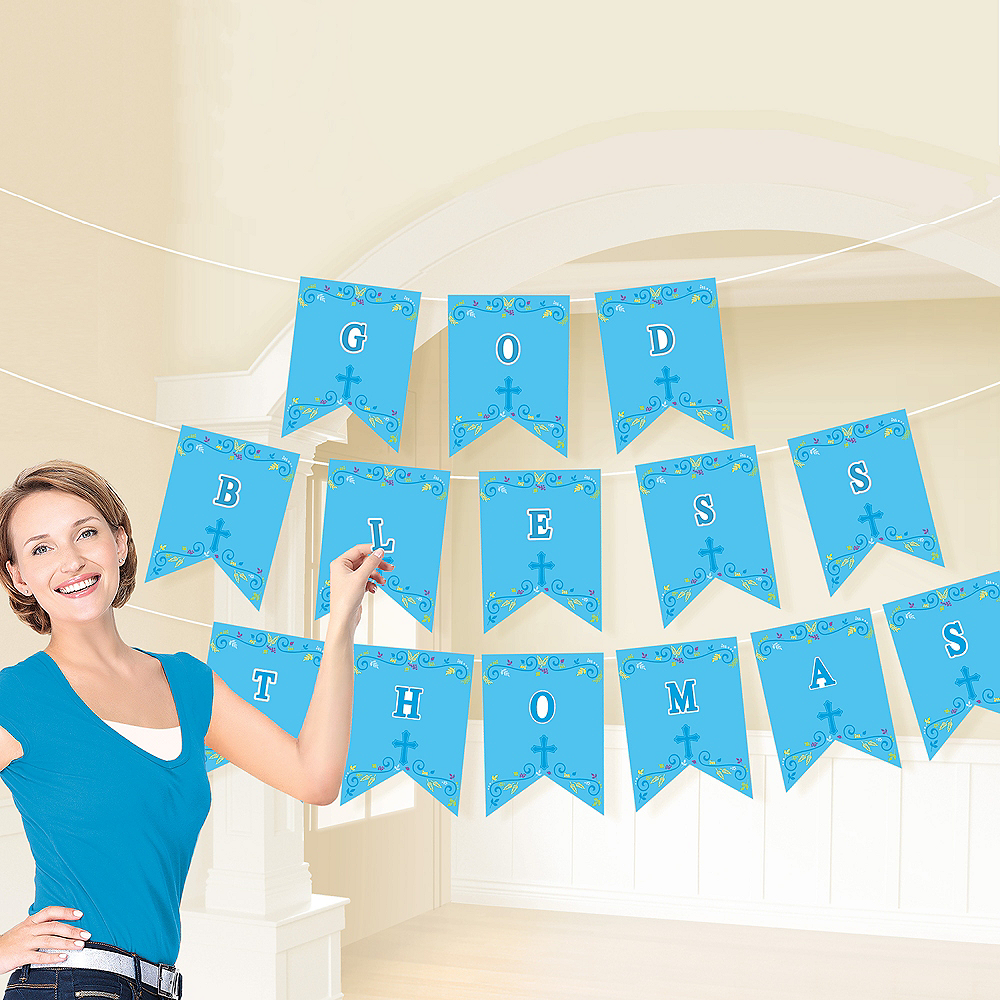 Blue First Communion Personalized Pennant Banner Kit Image #2