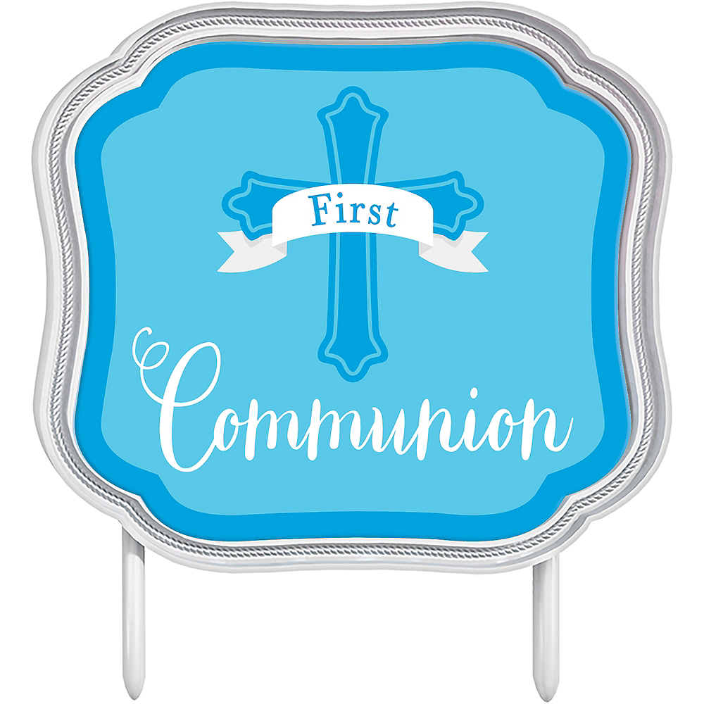 Blue First Communion Cake Topper Image #1