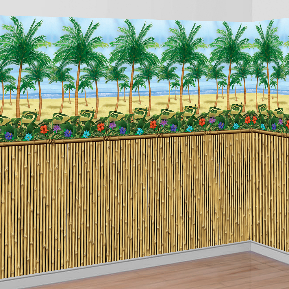 Palm Tree Luau Beach Scene Setter Theme Party Decoration Wall Decorating Kit