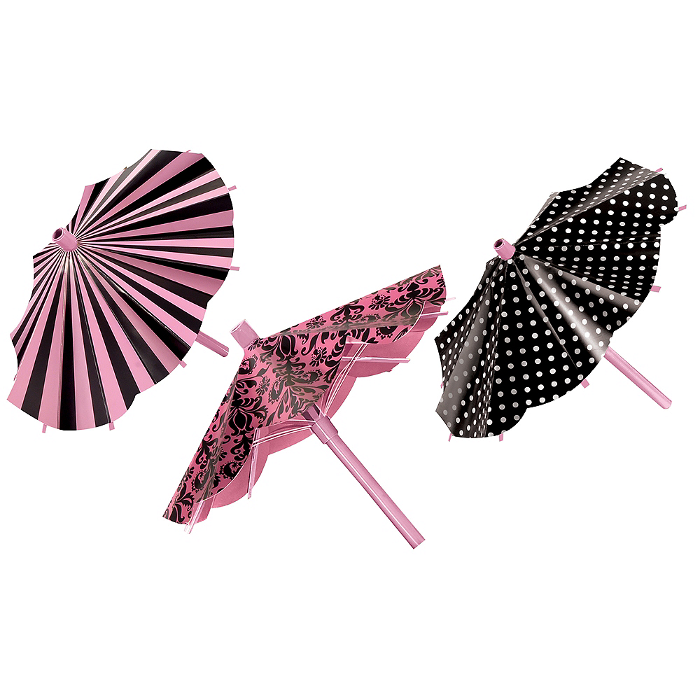 Pink & Black Parasol Decorations 3ct Image #1