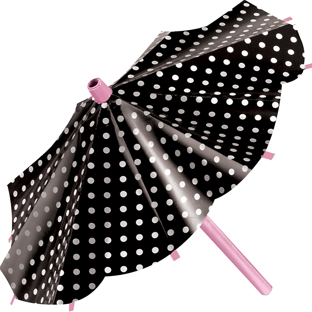 Pink & Black Parasol Decorations 3ct Image #3