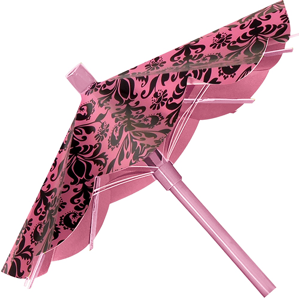 Pink & Black Parasol Decorations 3ct Image #4