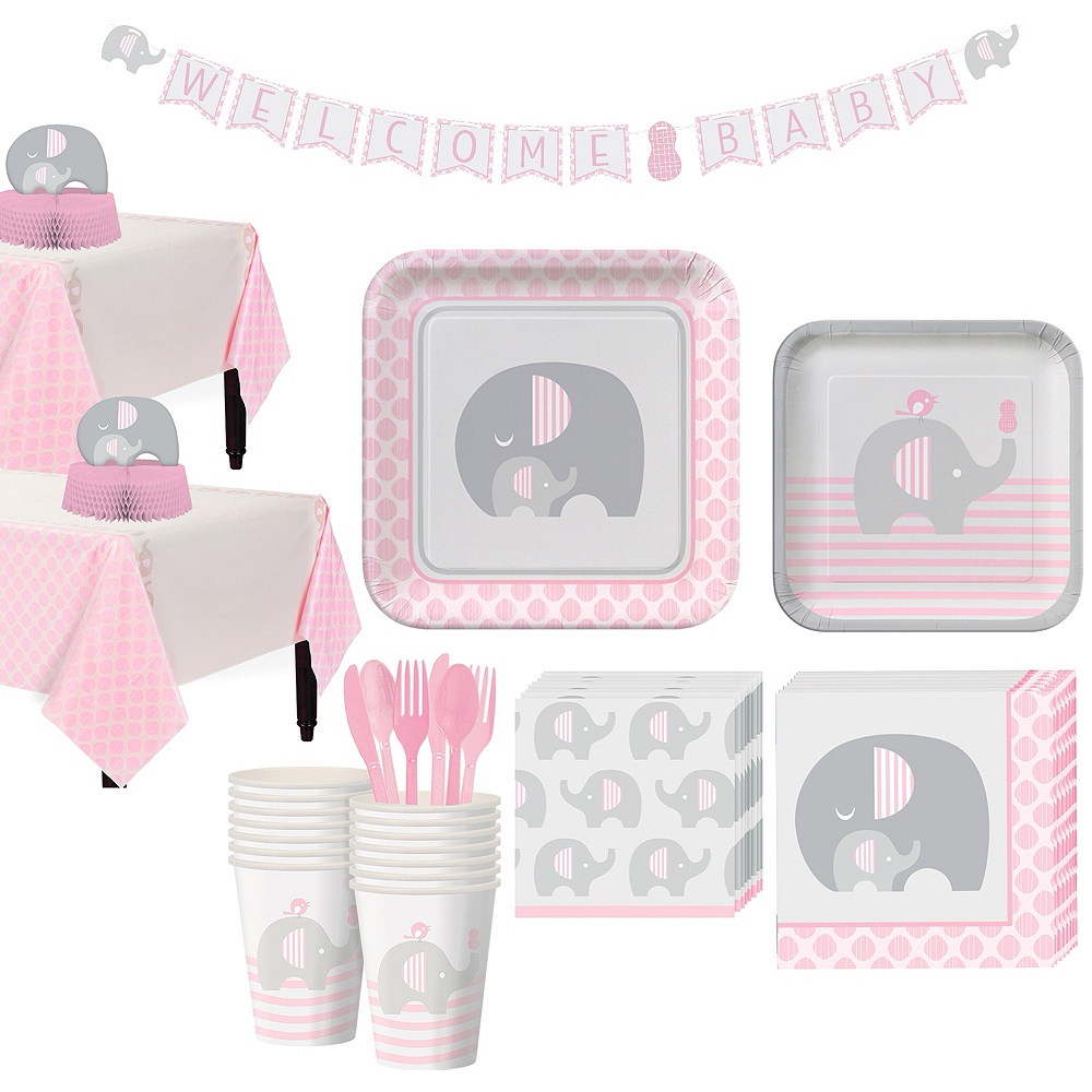 Pink Baby Elephant Tableware Kit 16 Guests Image #1