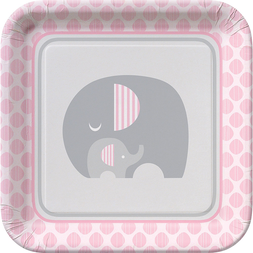 Pink Baby Elephant Tableware Kit 16 Guests Image #3