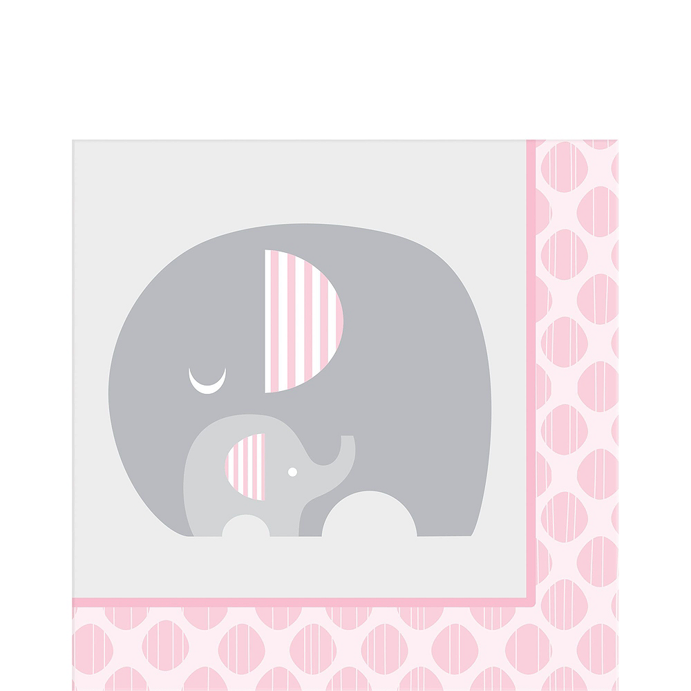 Pink Baby Elephant Tableware Kit 16 Guests Image #5