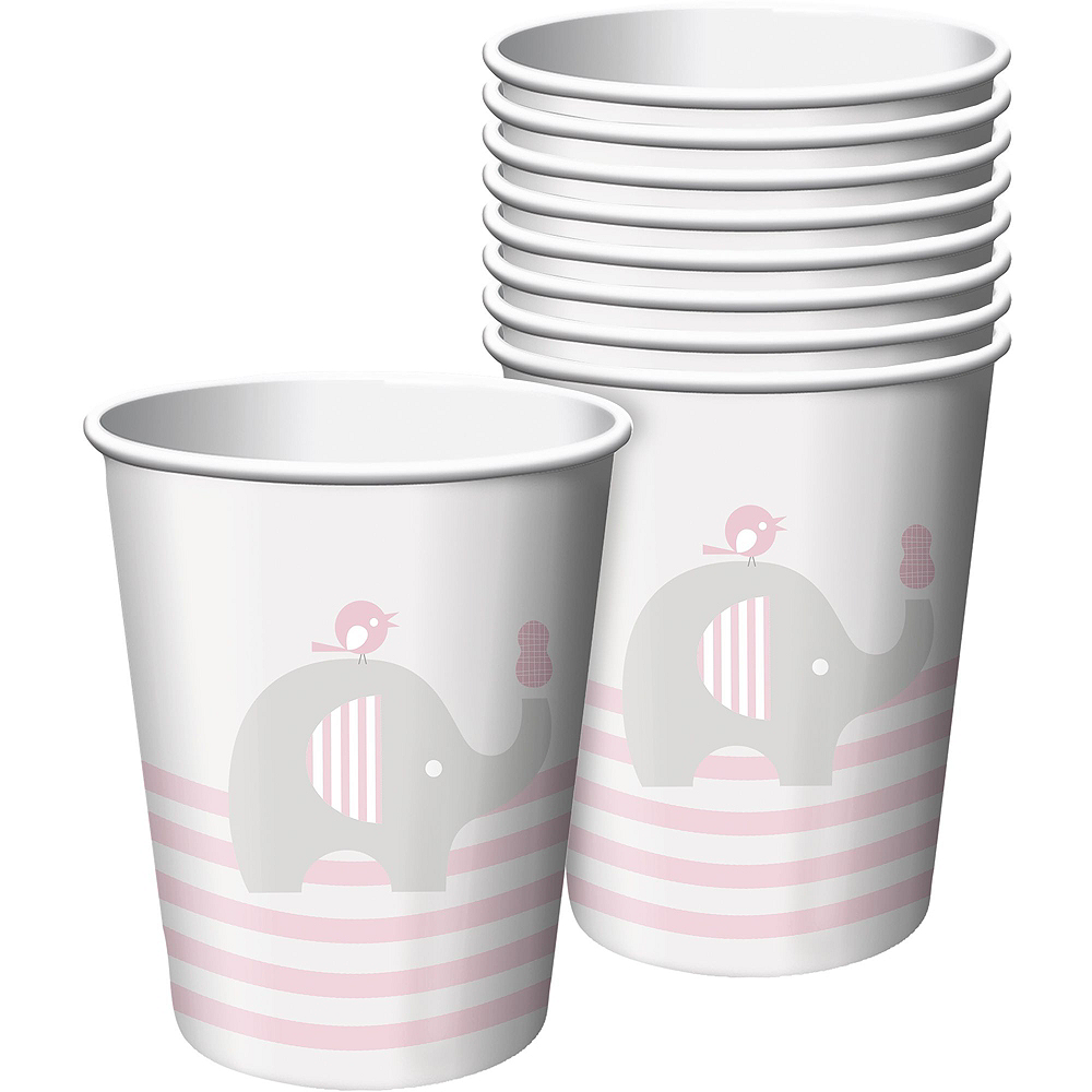 Pink Baby Elephant Tableware Kit 16 Guests Image #6