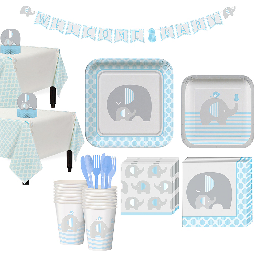 Blue Baby Elephant Tableware Kit 16 Guests Image #1