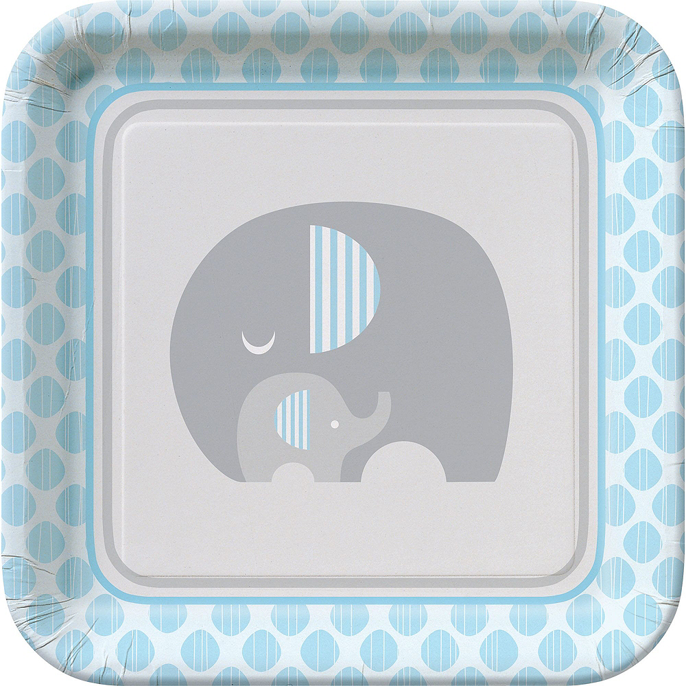 Blue Baby Elephant Tableware Kit 16 Guests Image #3