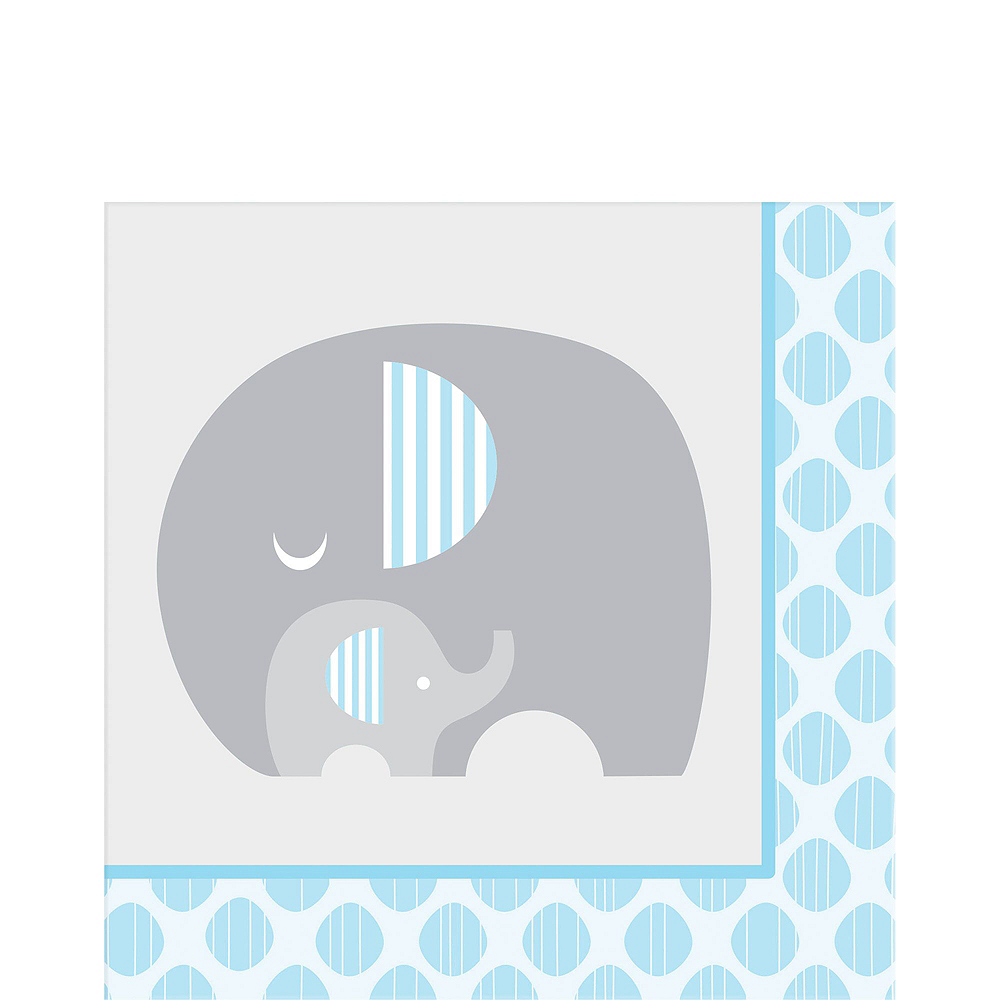 Blue Baby Elephant Tableware Kit 16 Guests Image #5