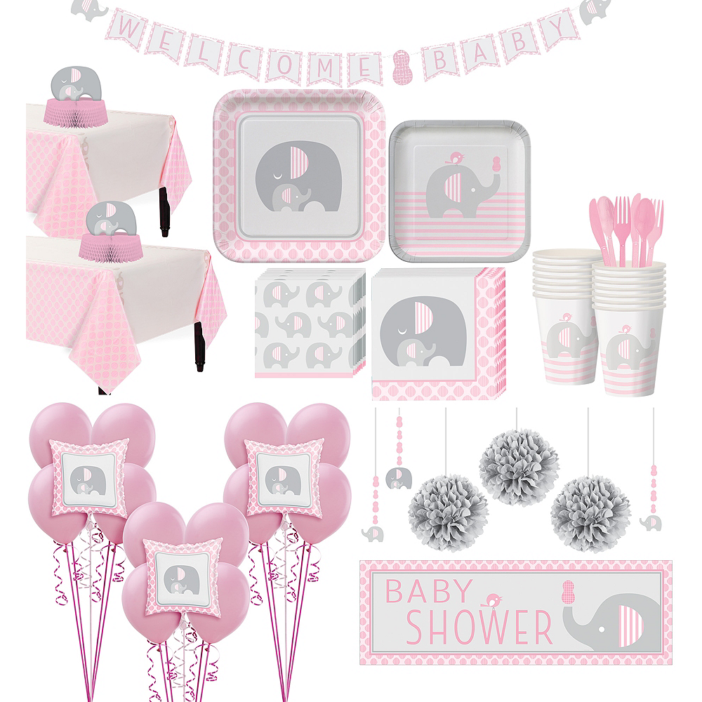 Pink Baby Elephant Premium Baby Shower Kit For 32 Guests Party City