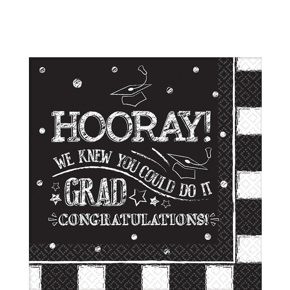 Chalk Hooray Graduation Lunch Napkins 36ct Image #1