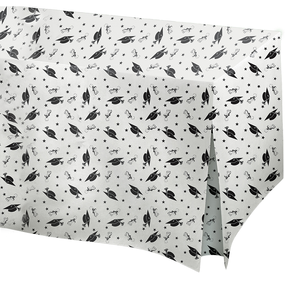 Graduation Flannel-Backed Vinyl Fitted Tablecloth Image #1