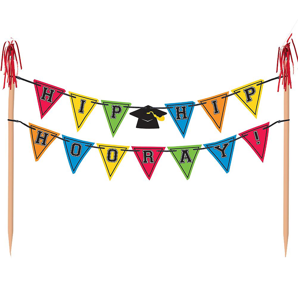 Multicolor Graduation Pennant Banner Cake Topper Image #1