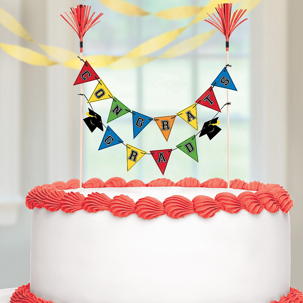 Multicolor Graduation Pennant Banner Cake Topper Image #2