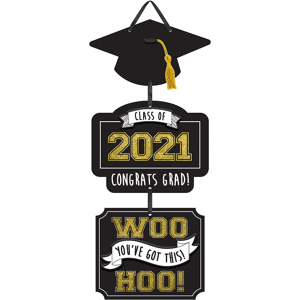 Graduation cap glitter. Stacked sign
