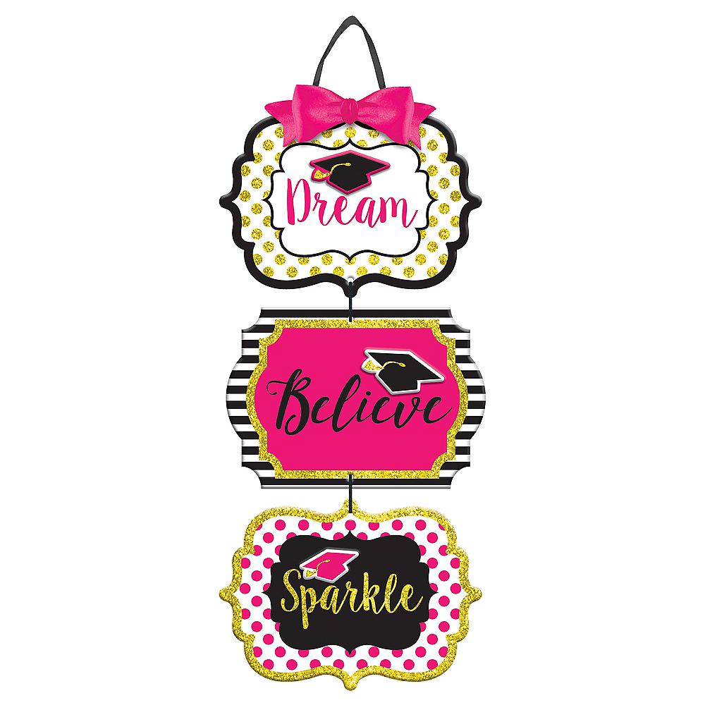 Glitter Dream Believe Sparkle Graduation Stacked Sign Image #1