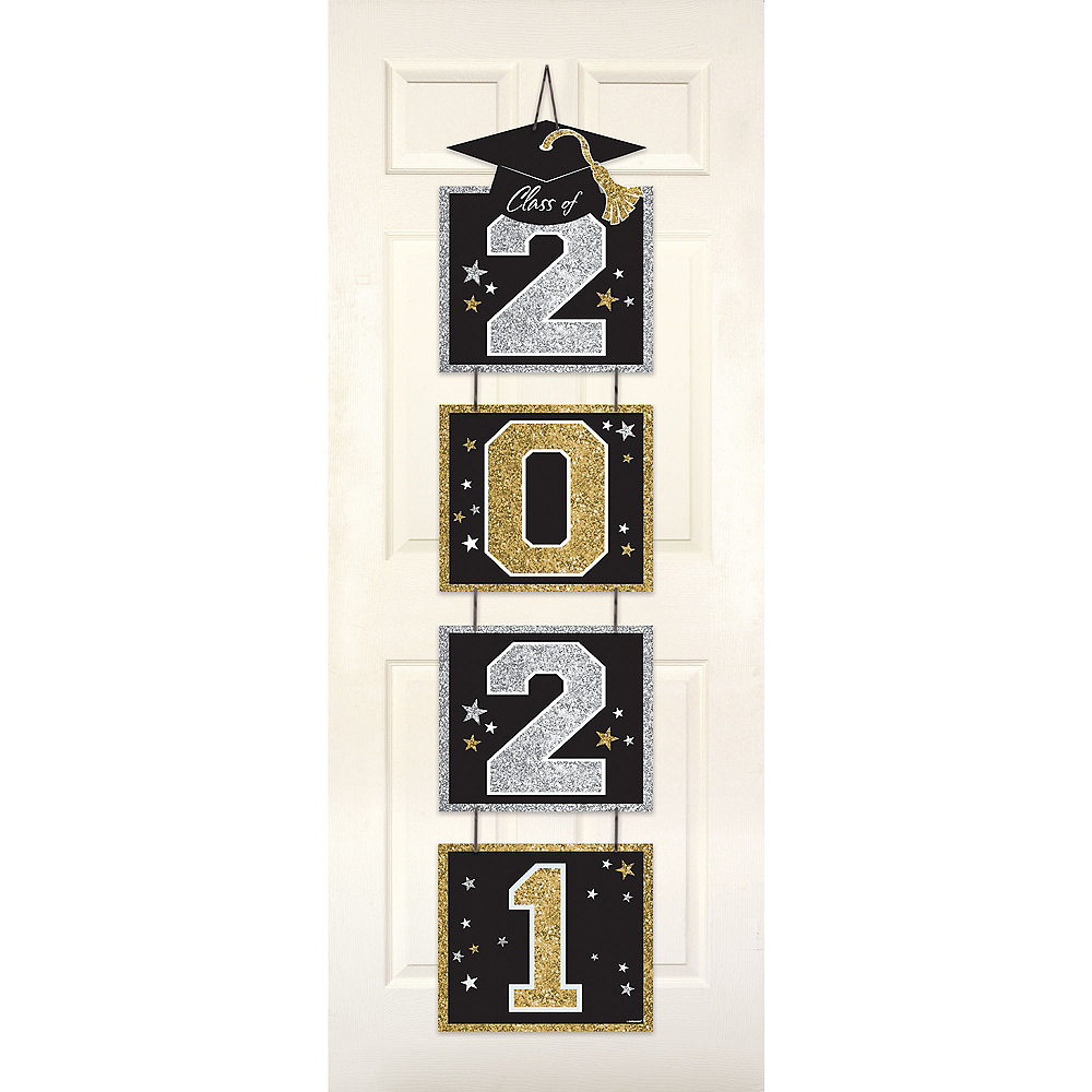 Glitter Black, Gold & Silver 2020 Graduation Stacked Sign Image #1