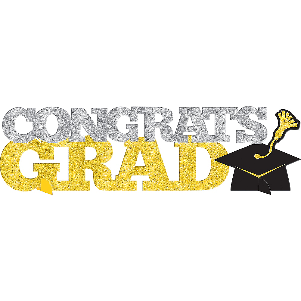 Glitter Gold & Silver Graduation Table Sign Image #1