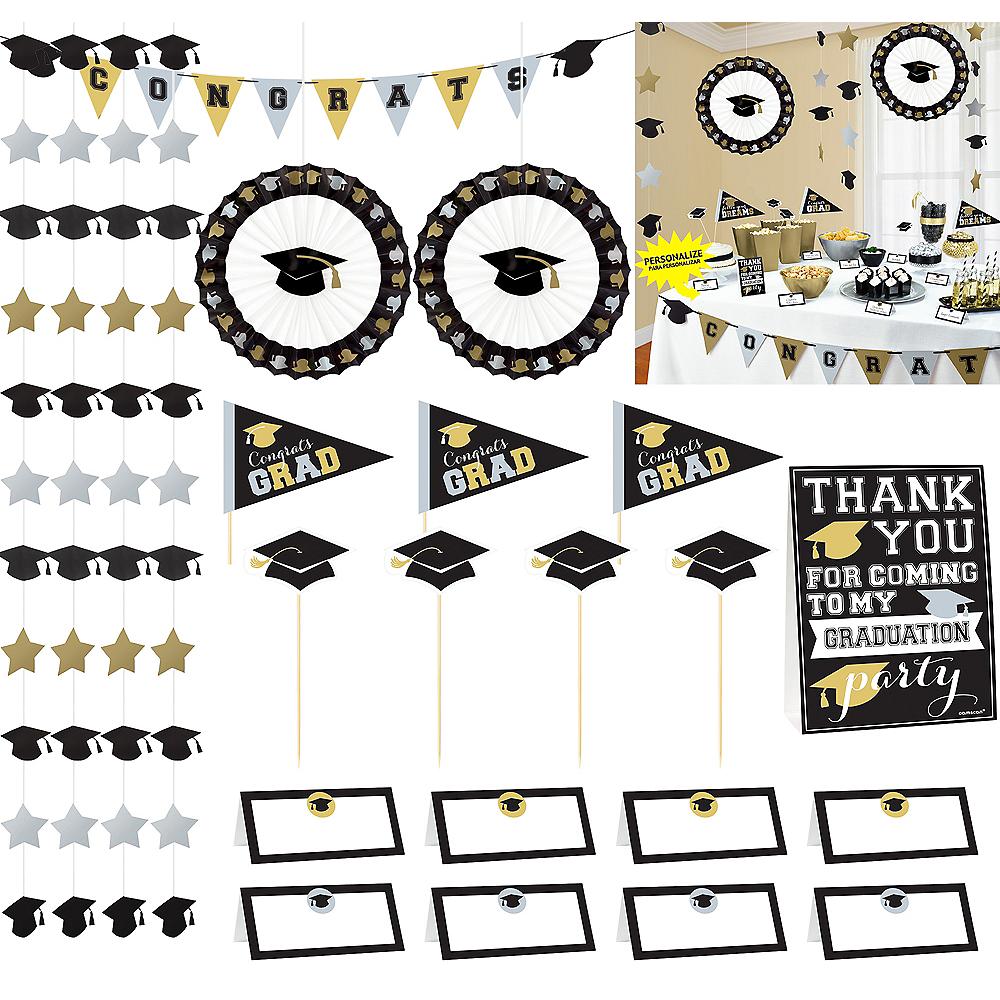 Black, Gold & Silver Graduation Buffet Decorating Kit 23pc Image #1