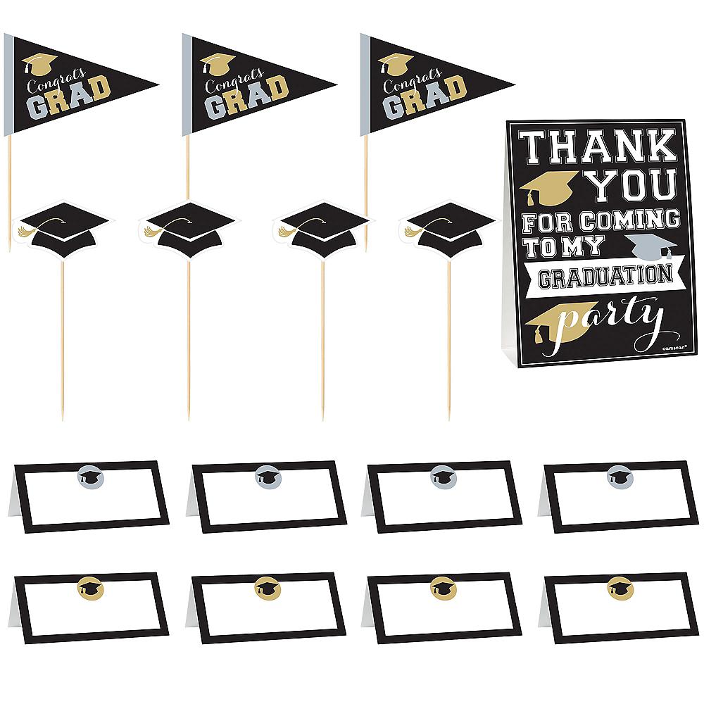Black, Gold & Silver Graduation Buffet Decorating Kit 23pc Image #4