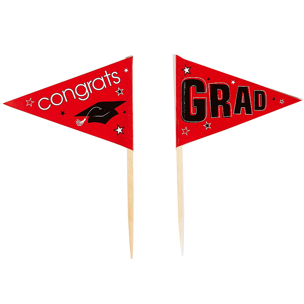 Red Graduation Flag Picks 36ct Image #2