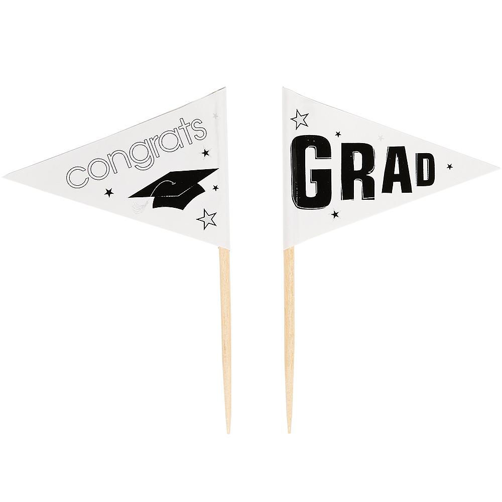 White Graduation Flag Picks 36ct Image #2